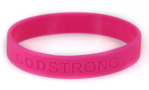 8020013 Set of 3 Pink Child Embossed Godstrong Silicone Band Eph. Ephesians 6...
