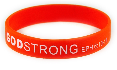 8030003 Set of 3 Red with White Adult Imprinted Godstrong Silicone Band Eph. ...