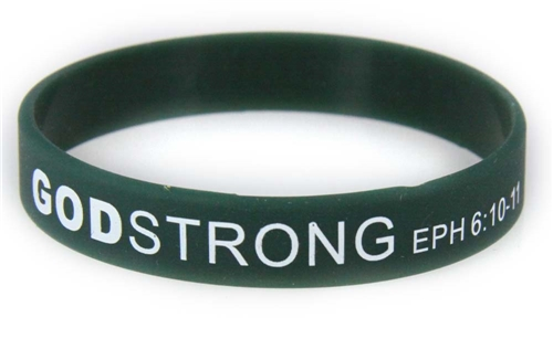 8030013 Set of 3 Dark Green with White Adult Imprinted Godstrong Silicone Ban...