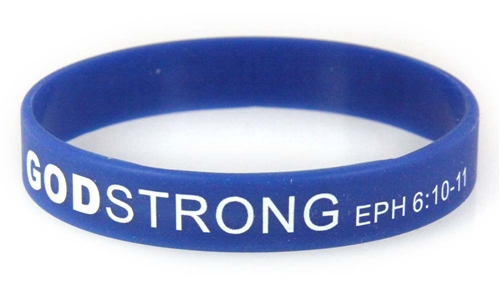 8030014 Set of 3 Blue with White Adult Imprinted Godstrong Silicone Band Eph....