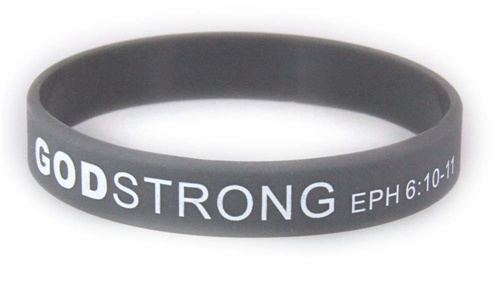 8030016 Set of 3 Adult Grey Band With White Print Godstrong Silicone Band Eph. Ephesians 6 10-12