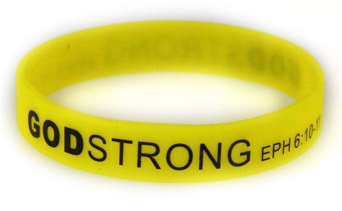 8030017 Set of 3 Yellow with Black Adult Imprinted Godstrong Silicone Band Ep...
