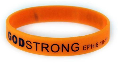 8030018 Set of 3 Orange with Black Adult Imprinted Godstrong Silicone Band Ep...