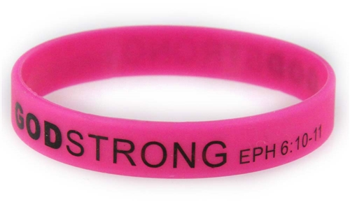 8030019 Set of 3 Pink with Black Adult Imprinted Godstrong Silicone Band Eph....