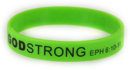 8030020 Set of 3 Green with Black Adult Imprinted Godstrong Silicone Band Eph...
