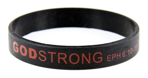 8040004 Set of 3 Black with Red Child Size Imprinted Godstrong Silicone Band ...