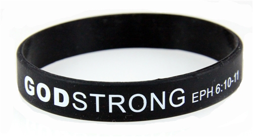 8040005 Set of 3 Black with White Child Size Imprinted Godstrong Silicone Ban...