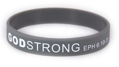 8040016 Set of 3 Child Grey Band With White Print Godstrong Silicone Band Eph. Ephesians 6:10-12