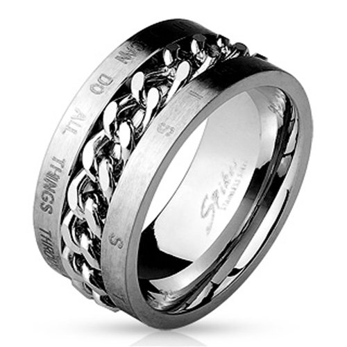 T5 Philippians 413 Wedding Band Mens Ring Christian Scripture I Can Do All Things