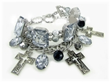 4030008 Christian Cross Bracelet With Jewels Scripture Religious Charms