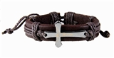 4030012 Christian Leather Cross Crucifix Bracelet Tension Knot Wrap