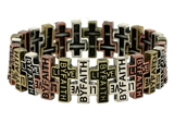 4030014 Christian Stretch Bracelet Live by Faith Weaving Cross Religious Scri...