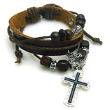4030044 Christian Religious Scripture Inspirational Cross Leather Bracelet