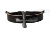 4030045 Christian Religious Scripture Inspirational Cross Leather Bracelet