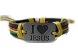 4030046 I Love Jesus Leather Bracelet Christian Religious Scripture Inspirati...