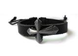 4030047 Cross Leather Bracelet Christian Religious Scripture Inspirational