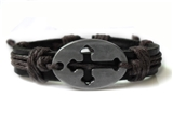 4030048 Cross Leather Bracelet Christian Religious Scripture Inspirational