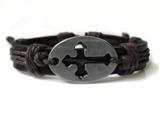 4030048 Cross Leather Bracelet Christian Religious Scripture Inspirational