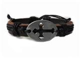 4030049 Cross Leather Bracelet Christian Religious Scripture Inspirational
