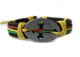 4030051 Cross Leather Bracelet Christian Religious Scripture Inspirational Ra...