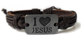 4030053 Leather Cross Bracelet Christian Religious Scripture Inspirational