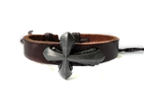 4030054 Leather Cross Bracelet Christian Religious Scripture Inspirational