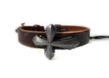 4030054 Leather Cross Bracelet Christian Religious Scripture Inspirational