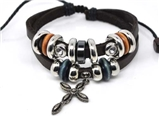 4030057 Leather Cross Bracelet Christian Religious Scripture Inspirational