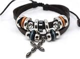 4030057 Leather Cross Bracelet Christian Religious Scripture Inspirational