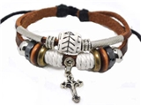 4030058 Christian Religious Scripture Inspirational Cross Leather Bracelet