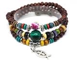 4030061 Wood Bead Fish & Cross Wrap Bracelet Christian Religious Inspirationa...