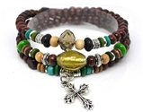 4030062 Wood Bead Cross Wrap Bracelet Christian Religious Inspirational Beaded