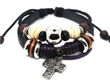 4030064 Leather Cross Bracelet Christian Religious Scripture Inspirational