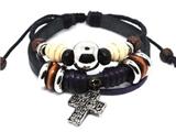 4030064 Leather Cross Bracelet Christian Religious Scripture Inspirational