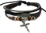 4030065 Leather Cross Bracelet Christian Religious Scripture Inspirational
