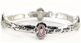 4030085a Pink Ribbon Breast Cancer Cure Stretch Bracelet Christian Scripture ...
