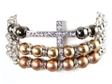 4030086a Cross Beaded Wrap Stretch Bracelet Christian Scripture Religious