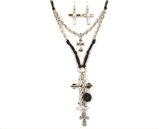 4030098 Cross Religious Christian Scripture Necklace and Earring set