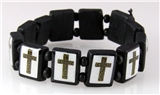 4030107a Wooden Bead Cross Bracelet Stretch Religious Stretch Beaded Block Beads