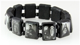 4030108a Black Wooden Block Bead Saints and Icons Celebrity Bracelet Stretch ...