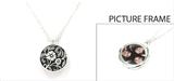 4030123 Picture Frame Locket Necklace Flower Medallian Design