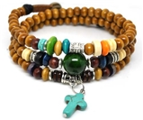 4030148 Wood Bead Cross Wrap Bracelet Christian Religious Inspirational Beaded