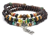 4030149 Wood Bead LOVE Wrap Bracelet Christian Religious Inspirational Beaded