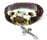 4030150 Wood Bead Cross Wrap Bracelet Christian Religious Inspirational Beaded