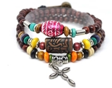 4030151 Wood Bead Cross Wrap Bracelet Christian Religious Inspirational Beaded