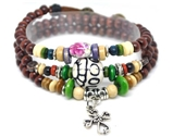 4030152 Wood Bead Cross Wrap Bracelet Christian Religious Inspirational Beaded