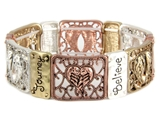4030159 Angel Wings Stretch Bracelet Believe Strength Courage Filigree