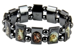 4030165 Saints Angels Black Hematite Bracelet with Beads Stretch Jesus