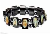 4030166 Jesus Saints Angels Black Hematite Bracelet with Beads Stretch Jesus