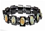 4030166 Jesus Saints Angels Black Hematite Bracelet with Beads Stretch Jesus